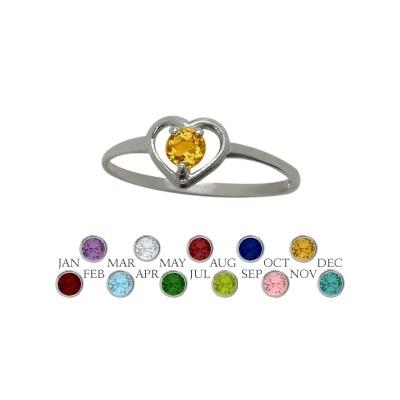 Genuine Sterling Silver Genuine Citrine Solitaire Gem Round Shape Baby Ring