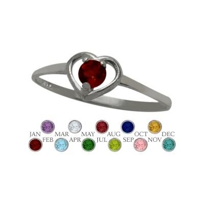 Genuine Sterling Silver Genuine Garnet Solitaire Gem Round Shape Baby Ring