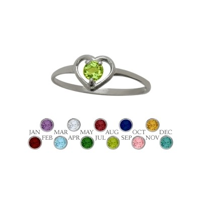 Genuine Sterling Silver Genuine Peridot Solitaire Gem Round Shape Baby Ring