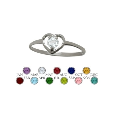 Genuine Sterling Silver Genuine White Topaz Solitaire Gem Round Shape Baby Ring