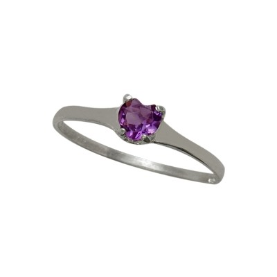 Genuine Sterling Silver Genuine Amethyst Heart Solitaire Baby Ring