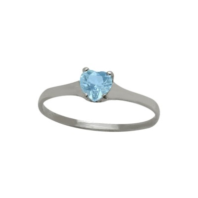 Genuine Sterling Silver Genuine Blue Topaz Heart Solitaire Baby Ring