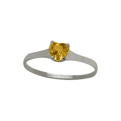 Genuine Sterling Silver Genuine Citrine Heart Solitaire Baby Ring