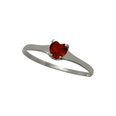 Genuine Sterling Silver Genuine Garnet Heart Solitaire Baby Ring