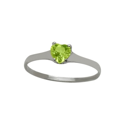 Genuine Sterling Silver Genuine Peridot Heart Solitaire Baby Ring