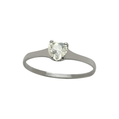 Genuine Sterling Silver Genuine White Topaz Heart Solitaire Baby Ring