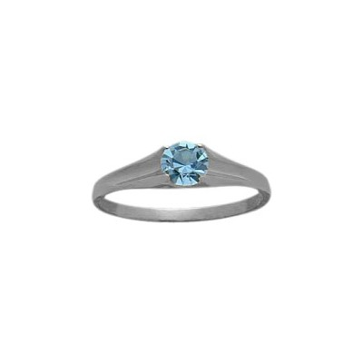 Genuine Sterling Silver Genuine Blue Topaz Solitaire Baby Ring