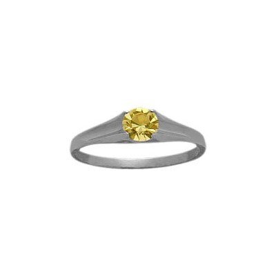 Genuine Sterling Silver Genuine Citrine Solitaire Baby Ring