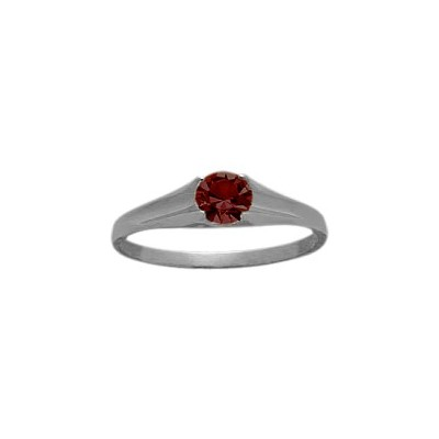 Genuine Sterling Silver Genuine Garnet Solitaire Baby Ring