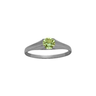 Genuine Sterling Silver Genuine Peridot Solitaire Baby Ring