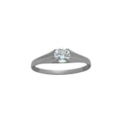 Genuine Sterling Silver Genuine White Topaz Solitaire Baby Ring