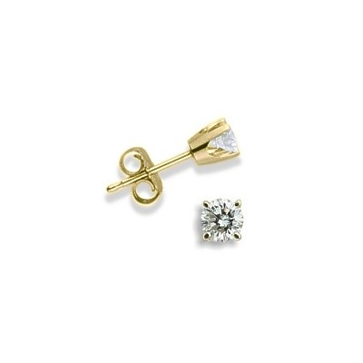 Baby 0.10 TCW Yellow Gold Diamond Stud Earrings
