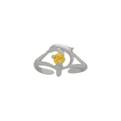 Sterling Silver Genuine Citrine Dolphin Toe Ring