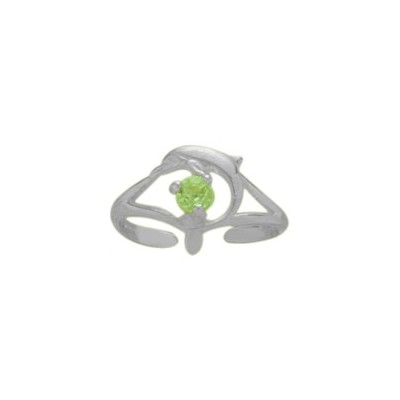 Sterling Silver Genuine Peridot Dolphin Toe Ring