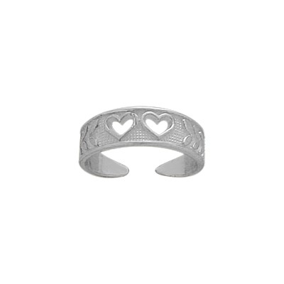 Genuine Sterling Silver Double Heart Toe Ring