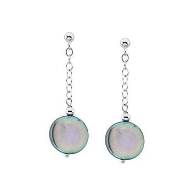 Genuine Sterling Silver Black Coin Pearl Drop Earrings