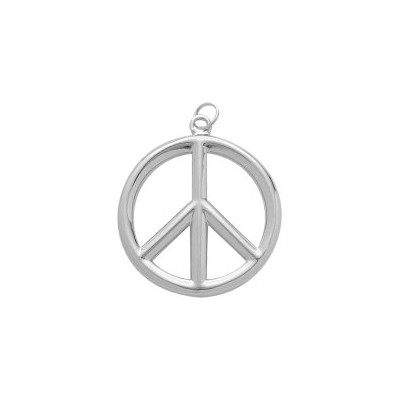 Genuine Sterling Silver Medium Peace Symbol Pendant with chain