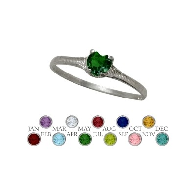 Genuine Sterling Silver Created Emerald Heart Shape Gem Baby Ring