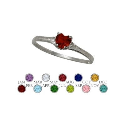 Genuine Sterling Silver Created Ruby Heart Shape Gem Baby Ring