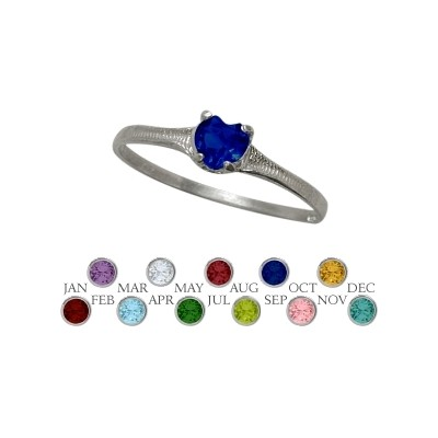 Genuine Sterling Silver Created Sapphire Heart Shape Gem Baby Ring