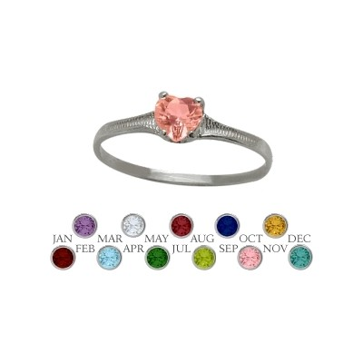 Genuine Sterling Silver Created Tourmaline Heart Shape Gem Baby Ring