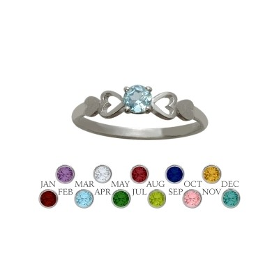 Genuine Sterling Silver Created Aquamarine  Round Shape Baby Ring