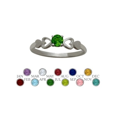 Genuine Sterling Silver Created Emerald  Round Shape Baby Ring