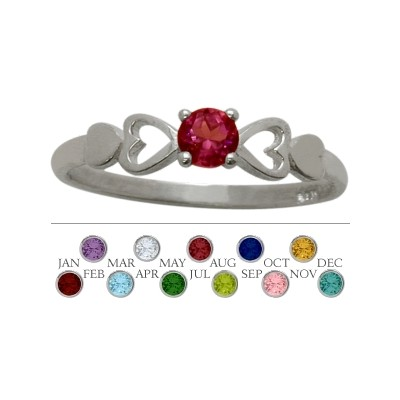 Genuine Sterling Silver Created Ruby  Round Shape Baby Ring