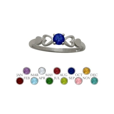 Genuine Sterling Silver Created Sapphire  Round Shape Baby Ring