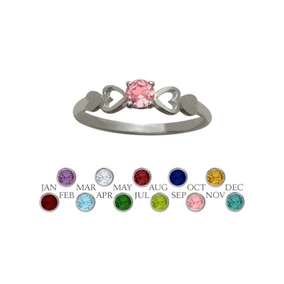 Genuine Sterling Silver Created Tourmaline  Round Shape Baby Ring