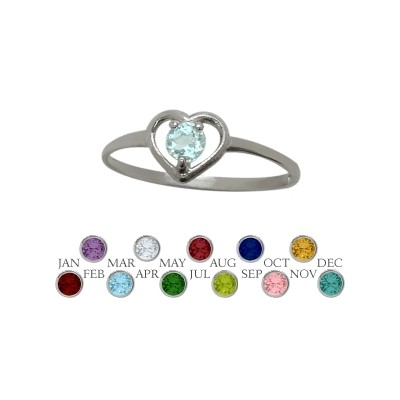 Genuine Sterling Silver Created Aquamarine Solitaire Gem Round Shape Baby Ring