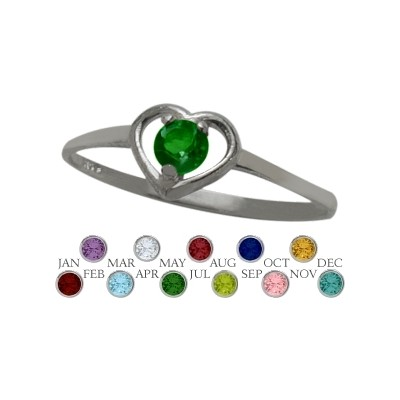 Genuine Sterling Silver Created Emerald Solitaire Gem Round Shape Baby Ring