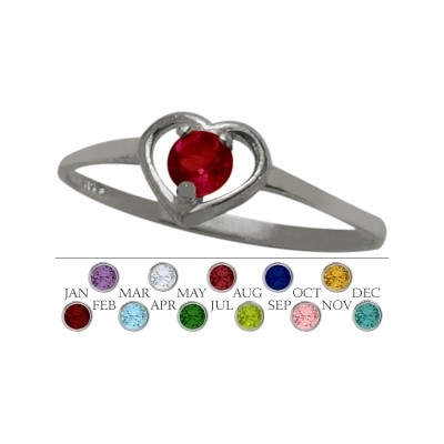 Genuine Sterling Silver Created Ruby Solitaire Gem Round Shape Baby Ring