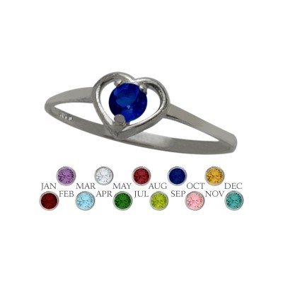 Genuine Sterling Silver Created Sapphire Solitaire Gem Round Shape Baby Ring