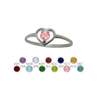 Genuine Sterling Silver Created Tourmaline Solitaire Gem Round Shape Baby Ring