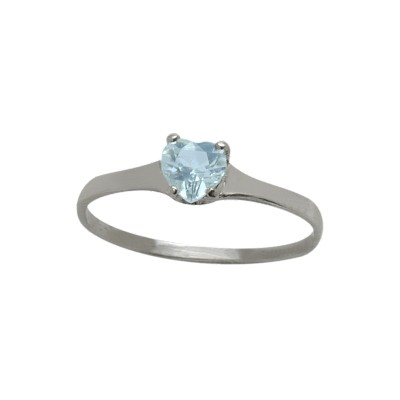 Genuine Sterling Silver Created Aquamarine Heart Solitaire Baby Ring