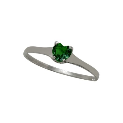 Genuine Sterling Silver Created Emerald Heart Solitaire Baby Ring