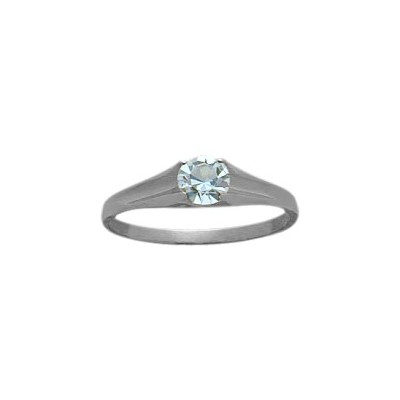 Genuine Sterling Silver Created Aquamarine Solitaire Baby Ring