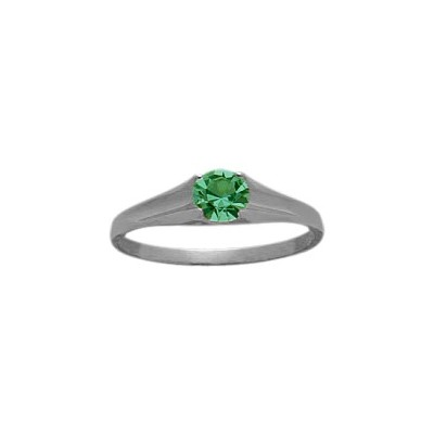 Genuine Sterling Silver Created Emerald Solitaire Baby Ring