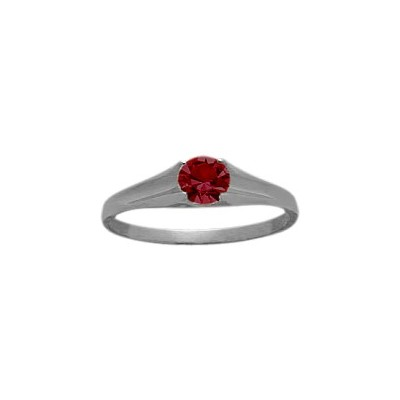 Genuine Sterling Silver Created Ruby Solitaire Baby Ring