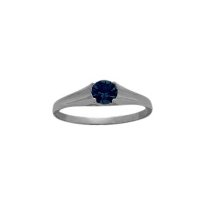 Genuine Sterling Silver Created Sapphire Solitaire Baby Ring