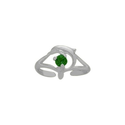 Sterling Silver Created Emerald Dolphin Toe Ring