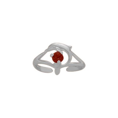 Sterling Silver Created Ruby Dolphin Toe Ring