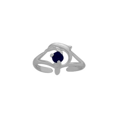 Sterling Silver Created Sapphire Dolphin Toe Ring