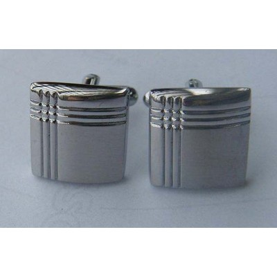 Crisscross Silver Rectangle Cufflinks