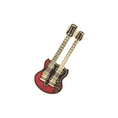 Guitar Pin - Double-Cut Doubleneck, Red - Aim - 11B