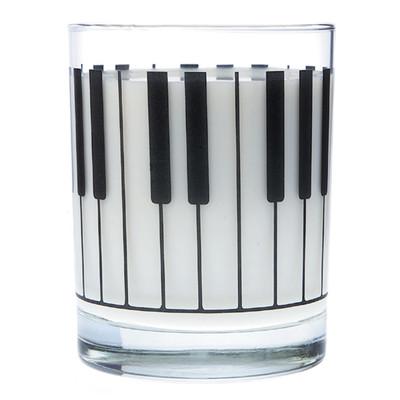 Music Themed Glass Tumbler - Large Keyboard - Aim - 2204