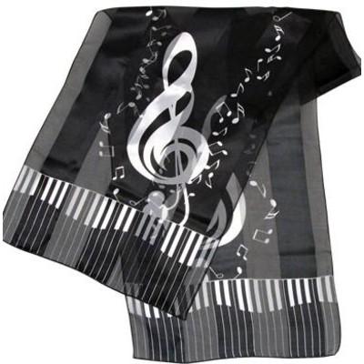 Scarf Aim Satin Stripe Keyboard Clef Notes Black - 13 X 60 - Aim - 56426