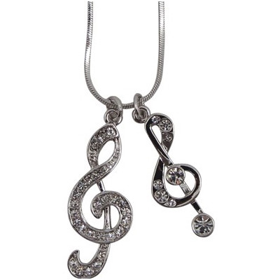 Necklace Aim Rhinestone Two G-Clefs - Aim - N421