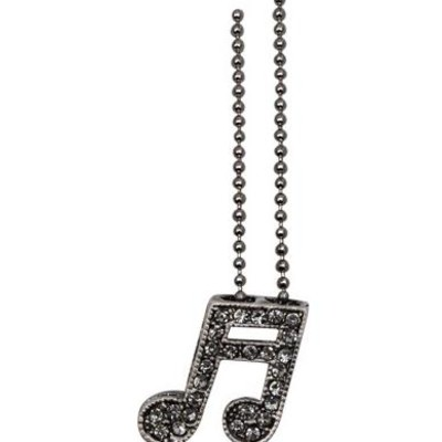 Necklace Aim Rhinestone Double Note Crystal - Grey/Pewter - Aim - N486